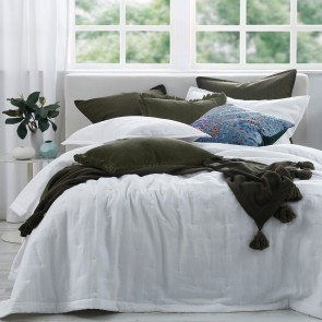 Laundered Linen Quilted Bedspread by MM Linen White