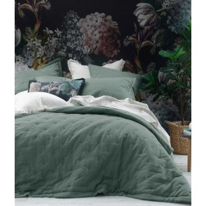 Laundered Linen Quilted Bedspread by MM Linen Seagrass