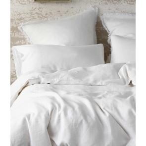 Laundered Linen Lodge Size Pillowcase Pair White
