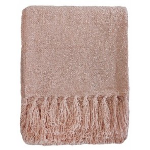 Limon Acrylic Boucle Yarn Throw Dusky Pink