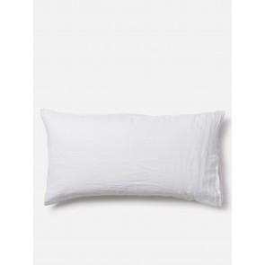100% Linen Lodge Size Pillowcase Pair - White