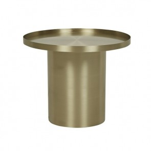 Elle Pedestal Lip Side Table - Brushed Metal