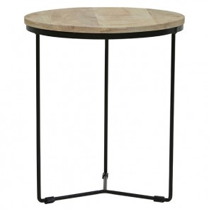 Flinders Round Side Table Large Natural/Black