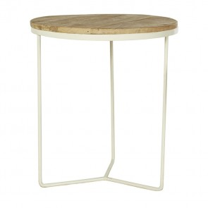Flinders Round Side Table Large Natural/White