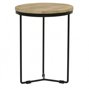 Flinders Round Side Table Small Natural/Black