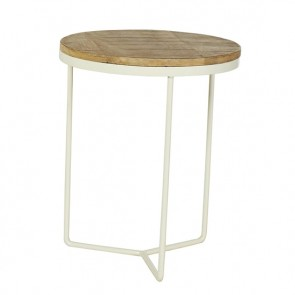 Flinders Round Side Table Small Natural White