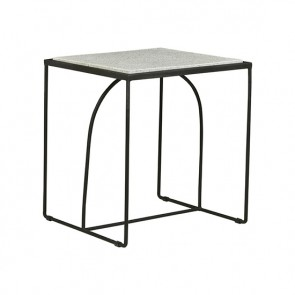 Brigette Arch Terrazzo Side Table - White/Black