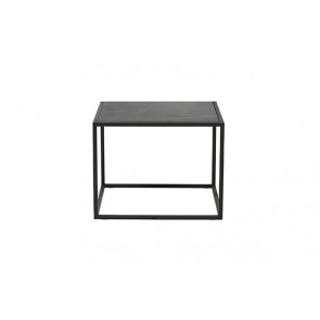 Elle Cube Marble Side Table - Black/Black