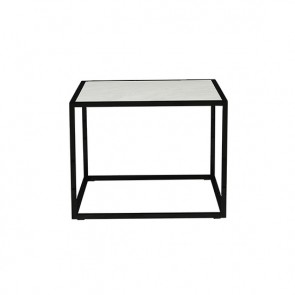 Elle Cube Marble Side Table - Black/White