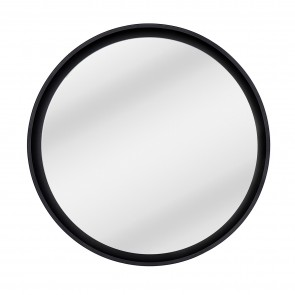 Recessed Round Floating Mirror Matt Black