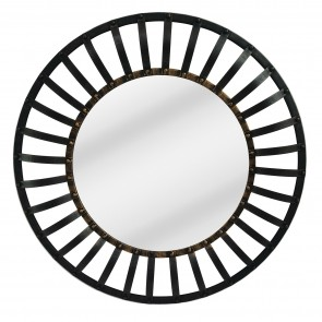 Industrial Round Mirror with Metal Frame