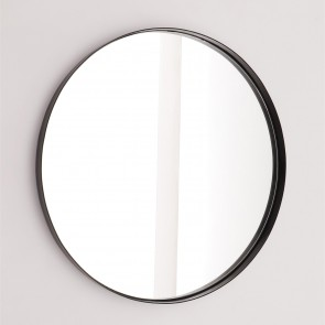 Nordic Round Mirror with Metal Frame - Matt Black