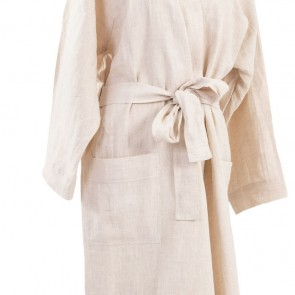 100% Linen Bathrobe Natural