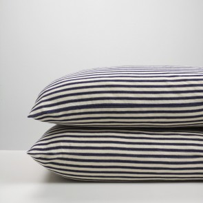 Navy Ticking Stripe Pillowcase Pair