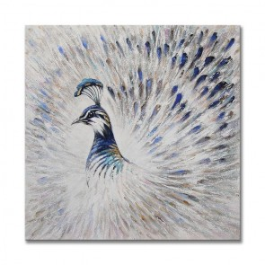 Silver Peacock Oil Painting