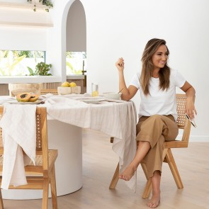 Pebble French Linen Tablecloth by Bambury