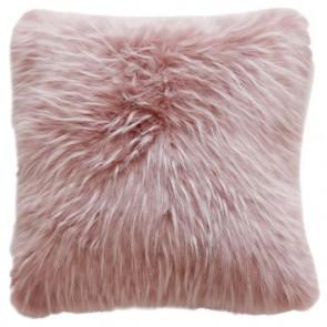 Heirloom Peony Plume Faux Fur Square Cushion