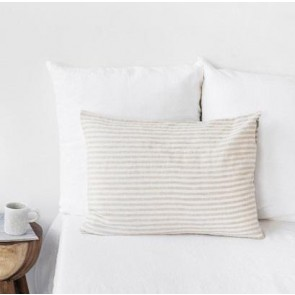 100% Linen Natural Stripe Pillowcase Pair