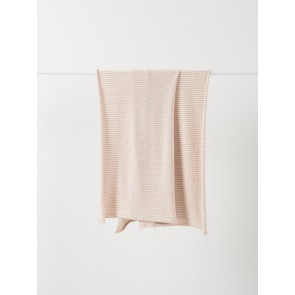 Pinstripe Cotton Knit Cot Blanket - Almond/Chalk
