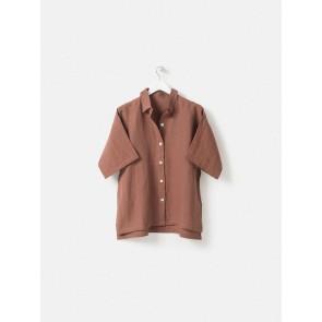 100% Linen PJ Shirt - Plum