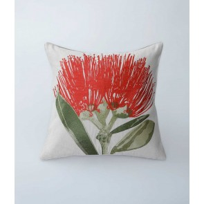 Pohutukawa Embroidered Cushion by MM Linen