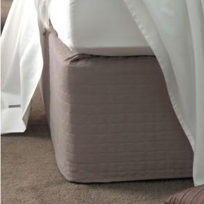 Savona Quilted Suede Valance Bedwrap 45cm Drop - Linen