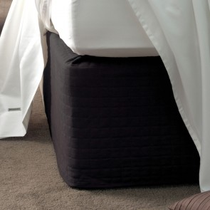 Savona Quilted Suede Valance Bedwrap 45cm Drop - Black