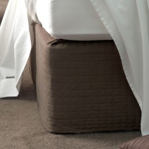 Savona Quilted Suede Valance Bedwrap 45cm Drop - Chocolate