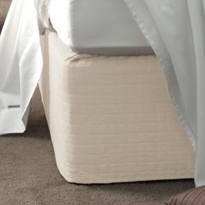 Savona Quilted Suede Valance Bedwrap 45cm Drop - Cream