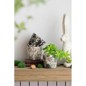Black & White Floral Planters - Set of 3