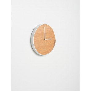 Segment Clock Oak/White