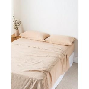 100% Linen Flat Sheet - Latte