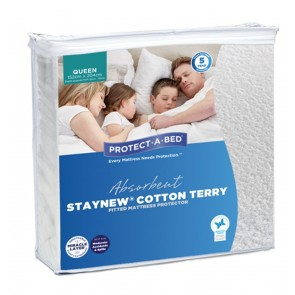 PROTECT-A-BED Staynew Waterproof Terry Fitted Mattress Protector
