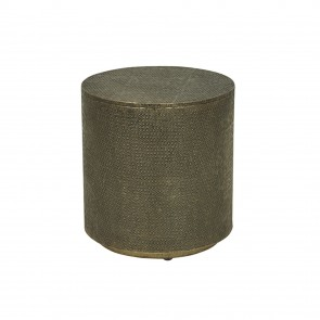 Taj Embossed Stool - Antique Metal