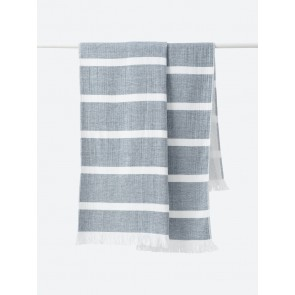 Stripe Organic Cotton Beach Towel Navy - 2 Pack