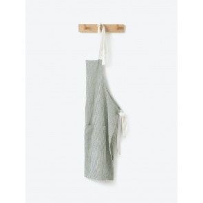 Olive Stripe Washed Cotton Apron - 2 Pack