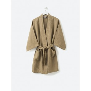 100% Linen Women's Short Robe - Pickle