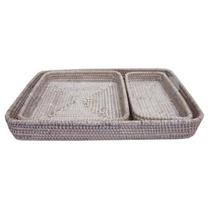 Set of 3 Rattan Trays