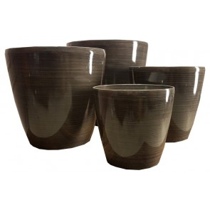 Stonelite Bamboo Glaze Pot Set of 4 - Grey