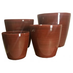 Stonelite Bamboo Glaze Pot Set of 4 - Burgundy