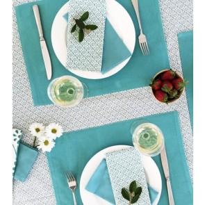 Flower Lagoon Blue Tablecloth