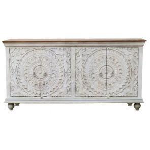 Boho Teak Hand Carved 4 Door Cabinet