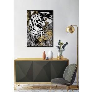 Golden Bengal Framed Canvas Art