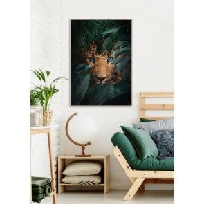Waiting in Green Framed Canvas Art