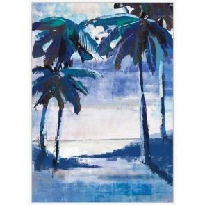 Framed Canvas Art Blue Beach