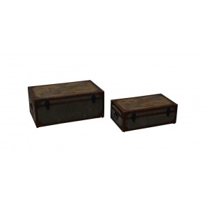 Canvas & Leather Trunks - Set of 2