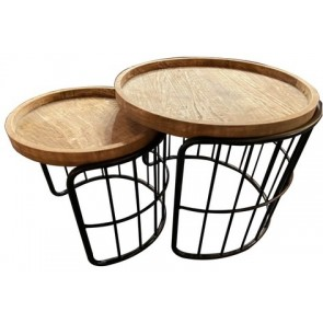 Set of 2 Wooden Side Tables