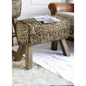 Leather Leopard Stool