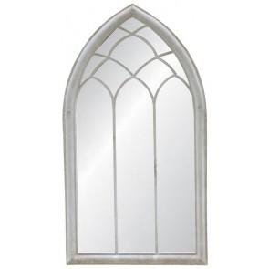 Antique White Arched Outdoor Mirror II