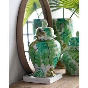 Green Leaves Ceramic Jar with Lid